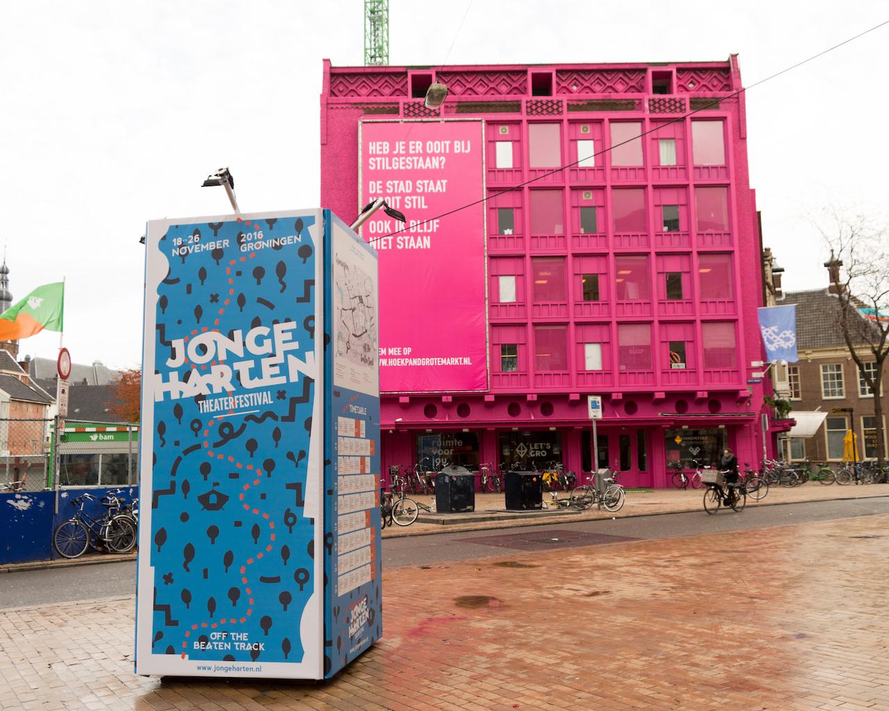Spandoek zonder frame in torenmodel - tijdelijke reclame in Groningen